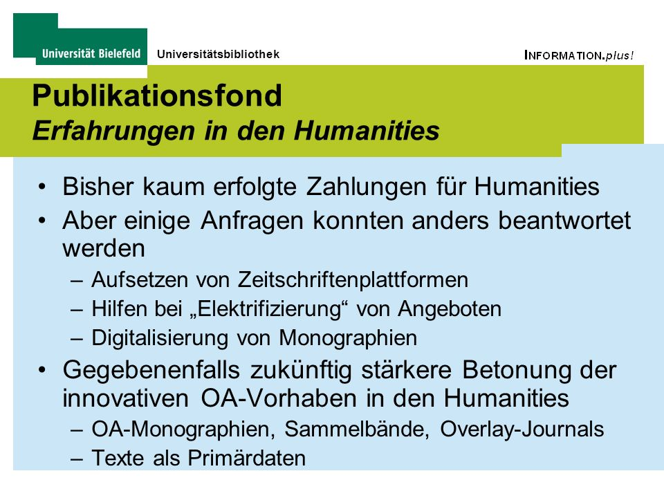 Publikationsfond Erfahrungen in den Humanities