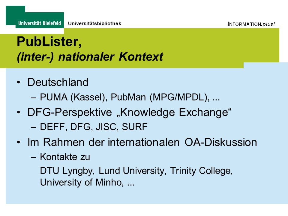 PubLister, (inter-) nationaler Kontext