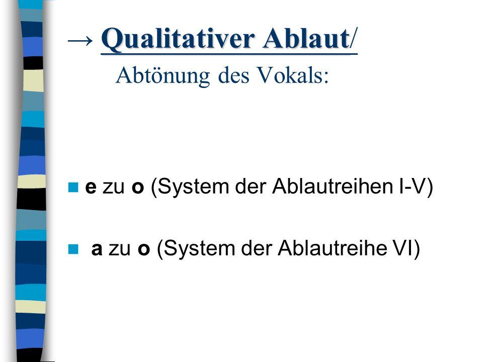 → Qualitativer Ablaut/ Abtönung des Vokals: