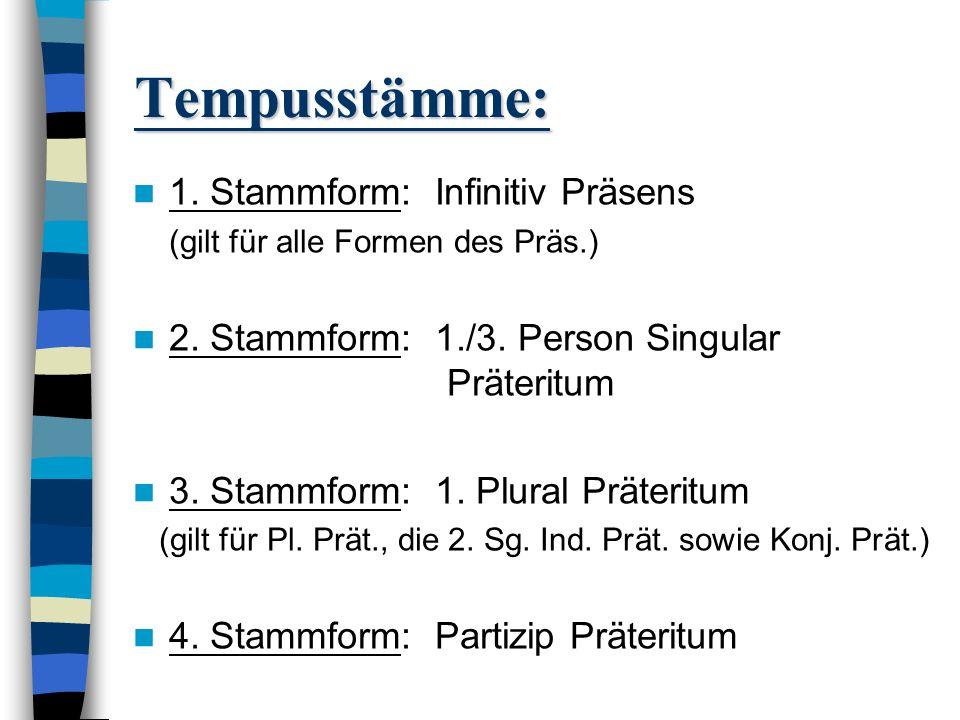 Tempusstämme: 1. Stammform: Infinitiv Präsens