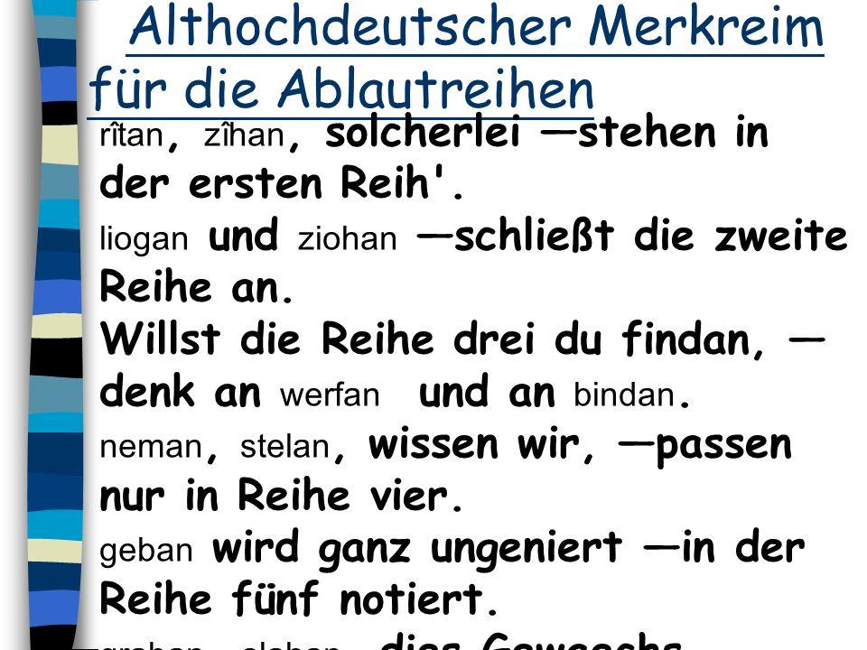Althochdeutscher Merkreim für die Ablautreihen