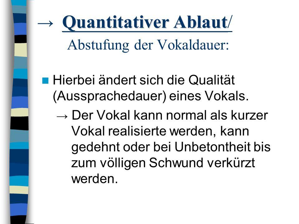 → Quantitativer Ablaut/ Abstufung der Vokaldauer:
