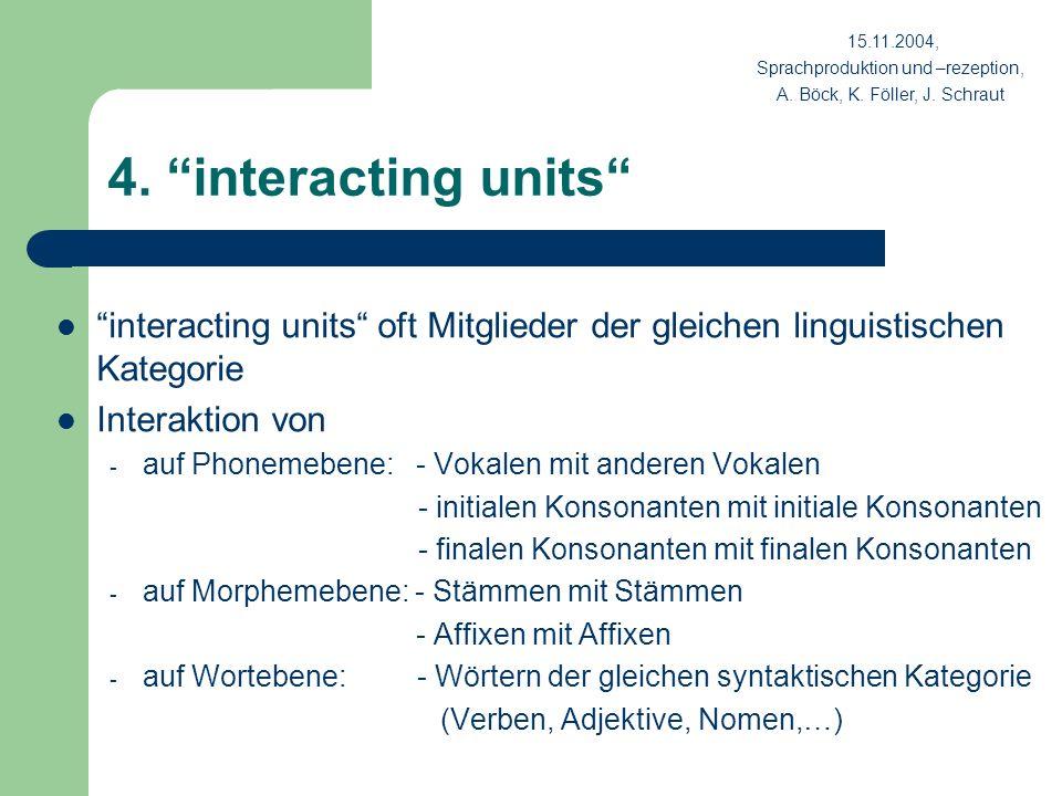 15.11.2004, Sprachproduktion und –rezeption, A. Böck, K. Föller, J. Schraut. 4. interacting units