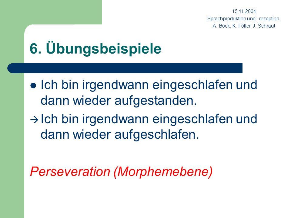 15.11.2004, Sprachproduktion und –rezeption, A. Böck, K. Föller, J. Schraut. 6. Übungsbeispiele.