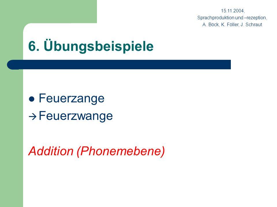 6. Übungsbeispiele Feuerzange Feuerzwange Addition (Phonemebene)