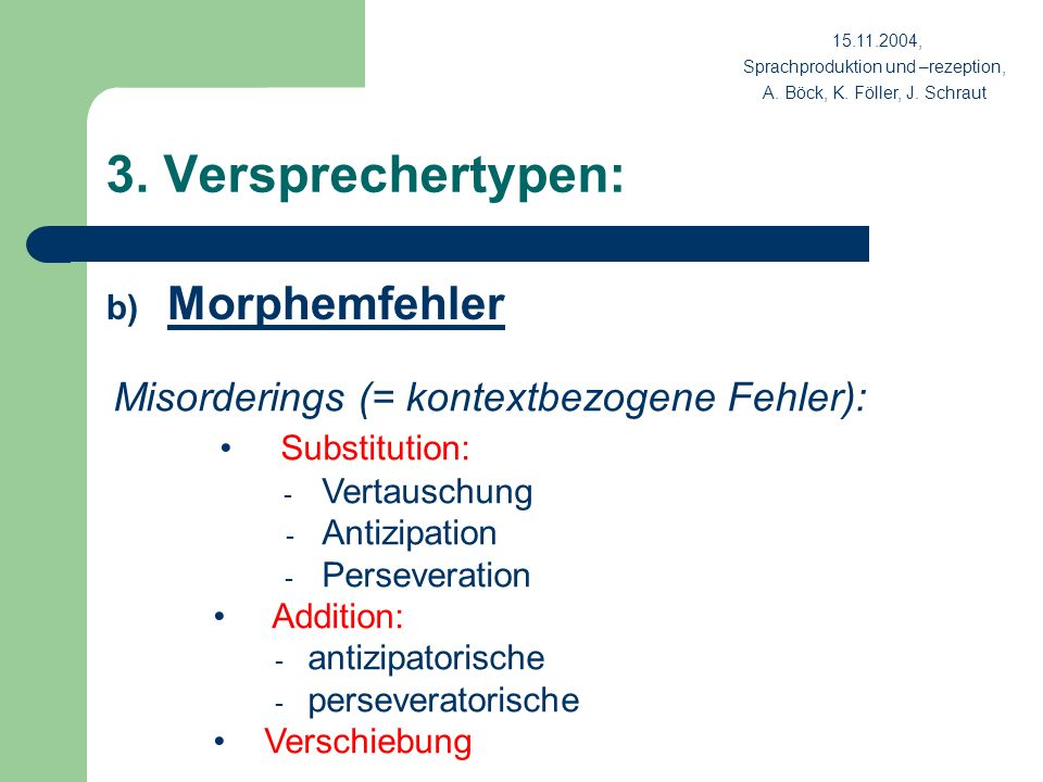 3. Versprechertypen: Morphemfehler