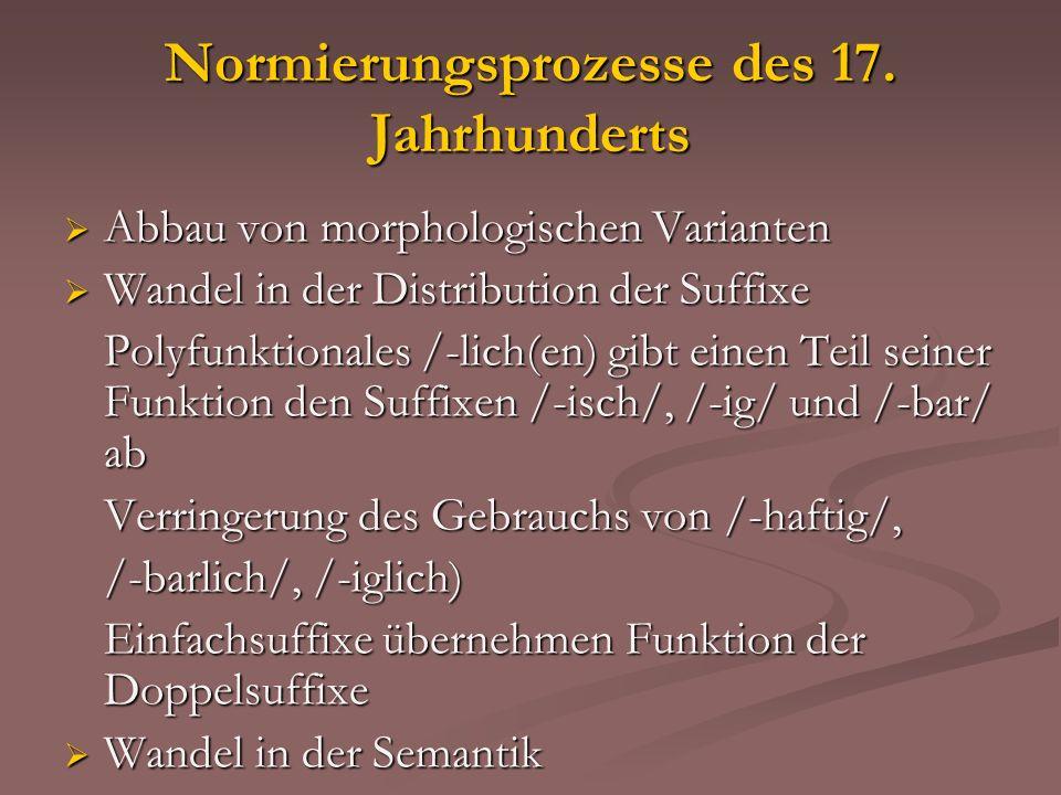 Normierungsprozesse des 17. Jahrhunderts