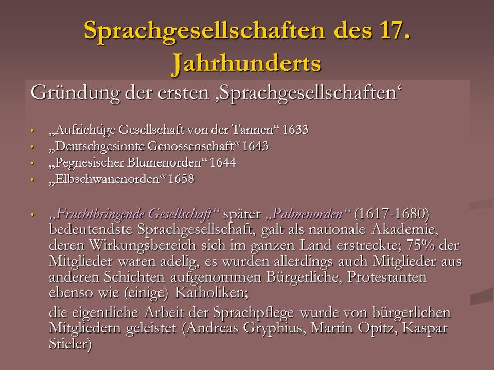 Sprachgesellschaften des 17. Jahrhunderts