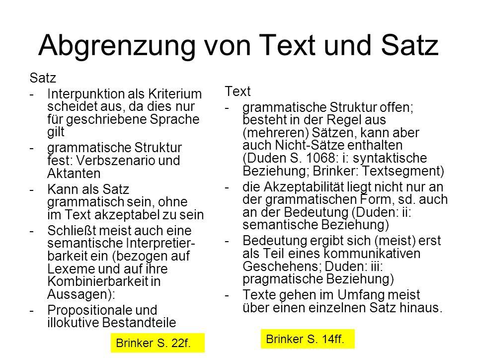 Abgrenzung von Text und Satz