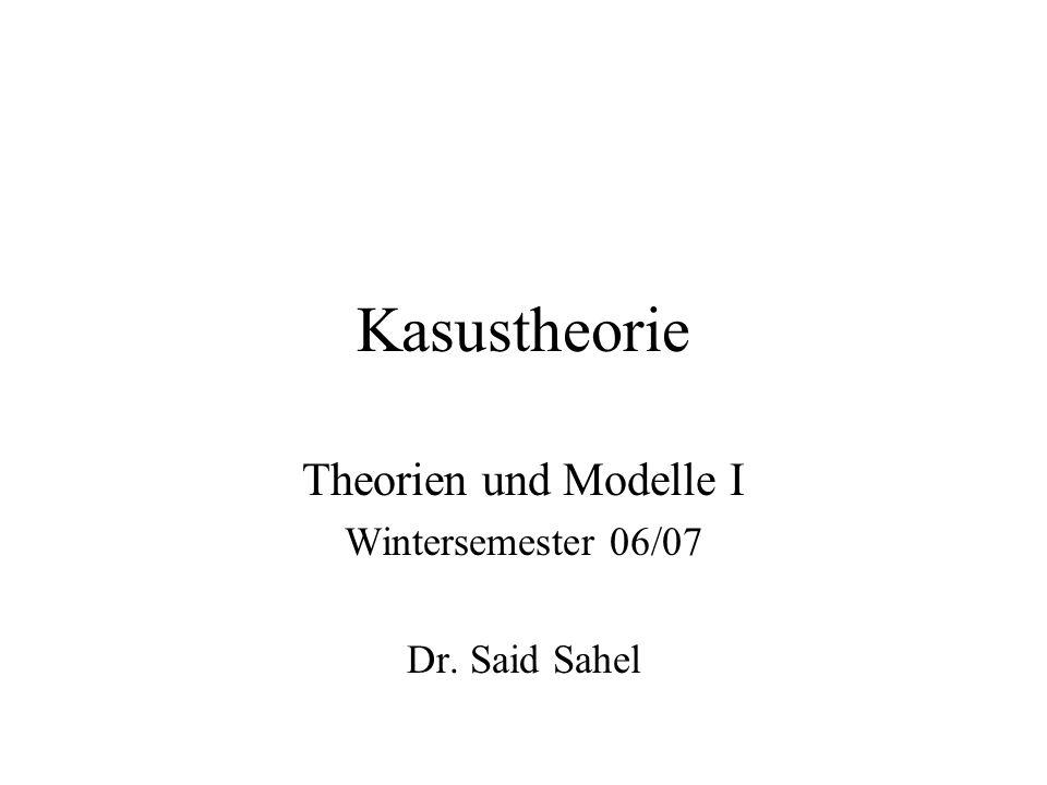Theorien und Modelle I Wintersemester 06/07 Dr. Said Sahel