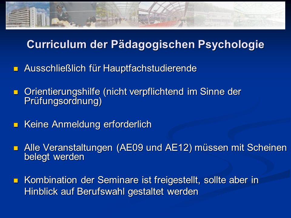 Curriculum der Pädagogischen Psychologie