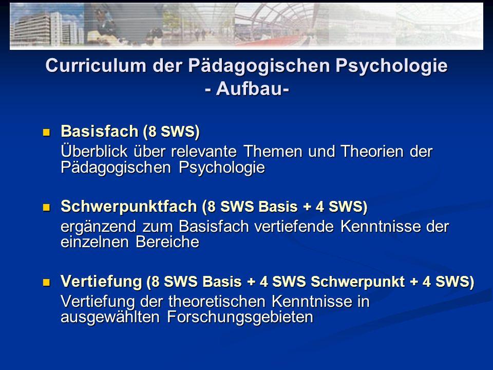 Curriculum der Pädagogischen Psychologie - Aufbau-