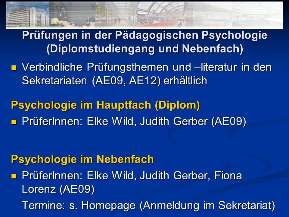 Prüfungen in der Pädagogischen Psychologie (Diplomstudiengang und Nebenfach)