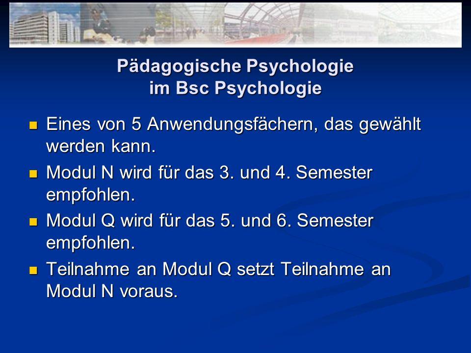 Pädagogische Psychologie im Bsc Psychologie