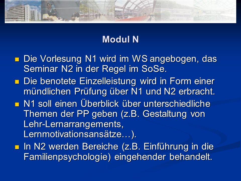 Modul N Die Vorlesung N1 wird im WS angebogen, das Seminar N2 in der Regel im SoSe.