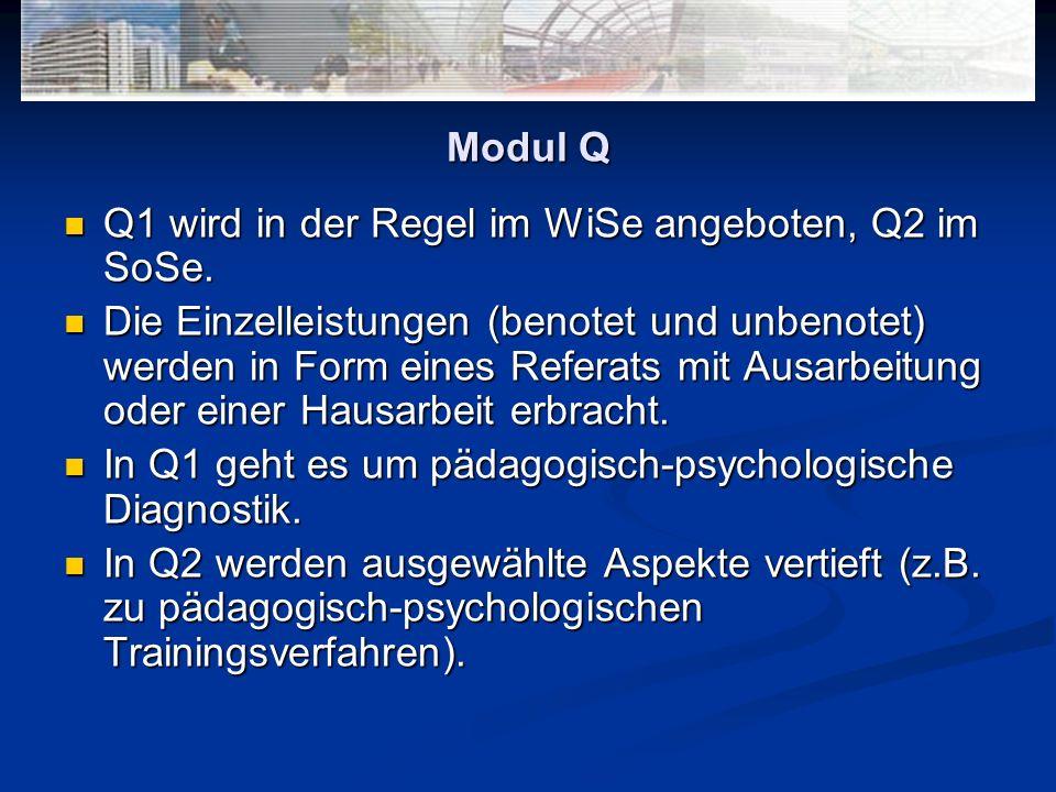 Modul Q Q1 wird in der Regel im WiSe angeboten, Q2 im SoSe.