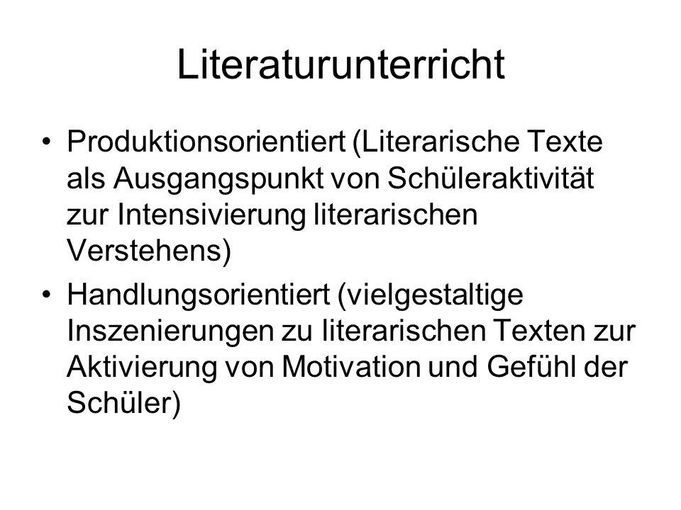 Literaturunterricht Produktionsorientiert (Literarische Texte als Ausgangspunkt von Schüleraktivität zur Intensivierung literarischen Verstehens)
