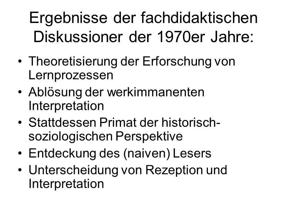 Ergebnisse der fachdidaktischen Diskussioner der 1970er Jahre:
