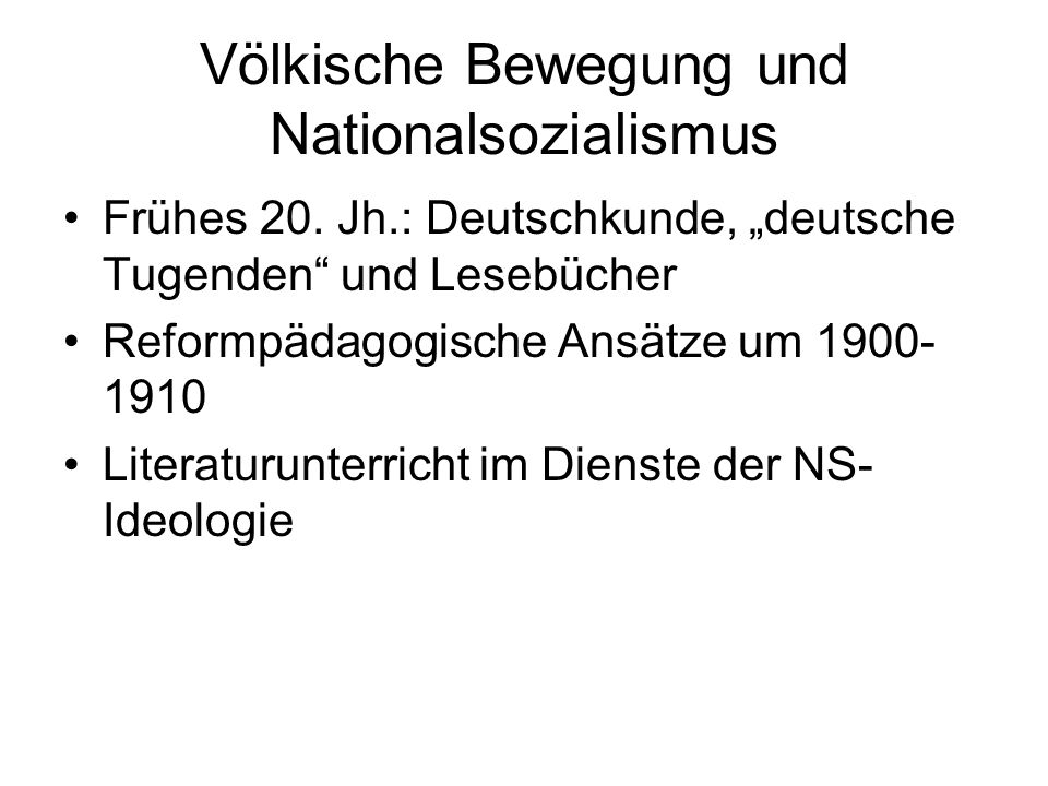 Völkische Bewegung und Nationalsozialismus