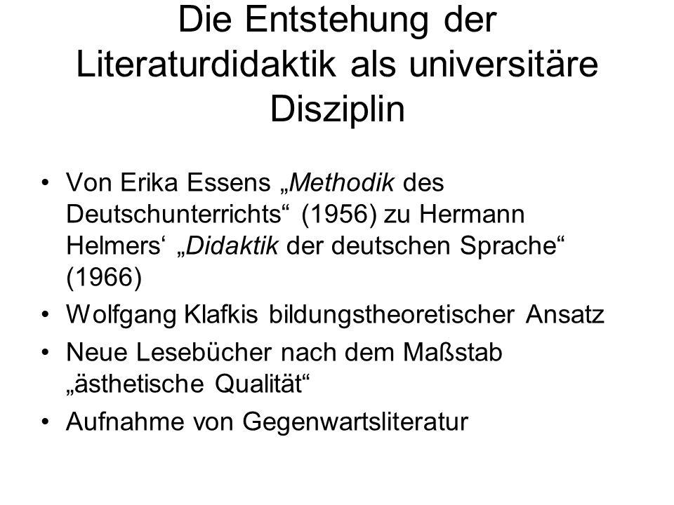 Die Entstehung der Literaturdidaktik als universitäre Disziplin