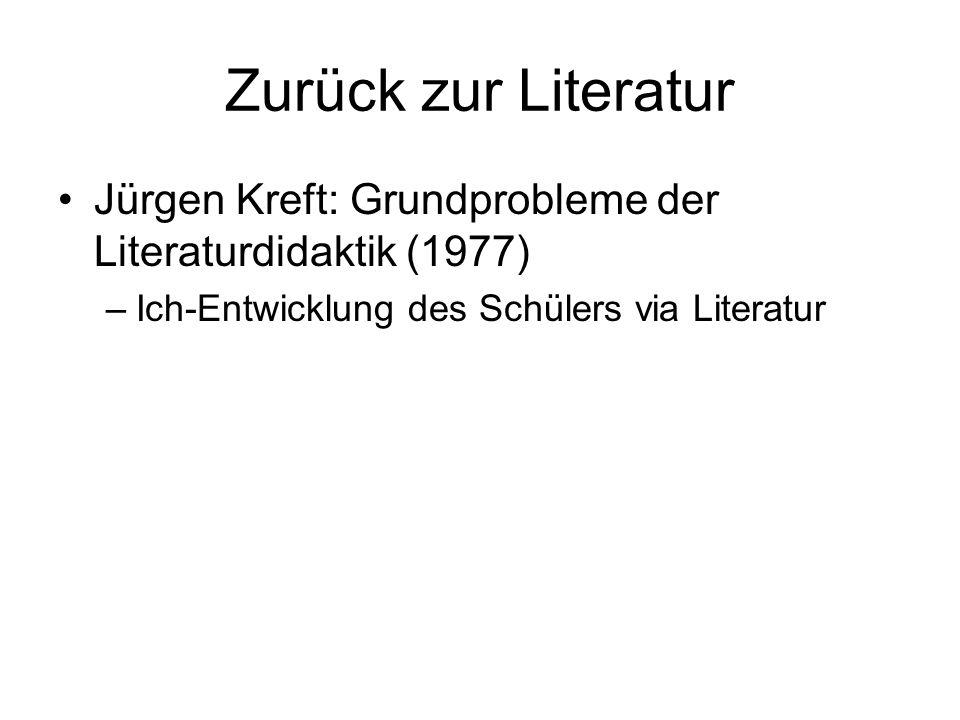 Zurück zur Literatur Jürgen Kreft: Grundprobleme der Literaturdidaktik (1977) Ich-Entwicklung des Schülers via Literatur.