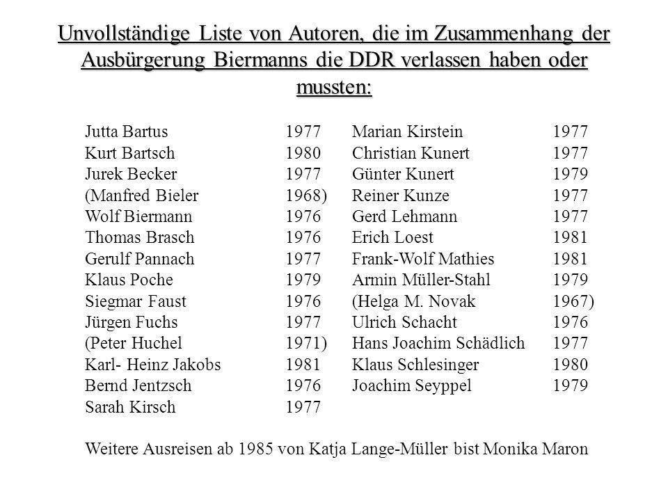 Unvollständige Liste von Autoren, die im Zusammenhang der Ausbürgerung Biermanns die DDR verlassen haben oder mussten: