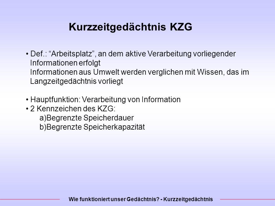 Kurzzeitgedächtnis KZG