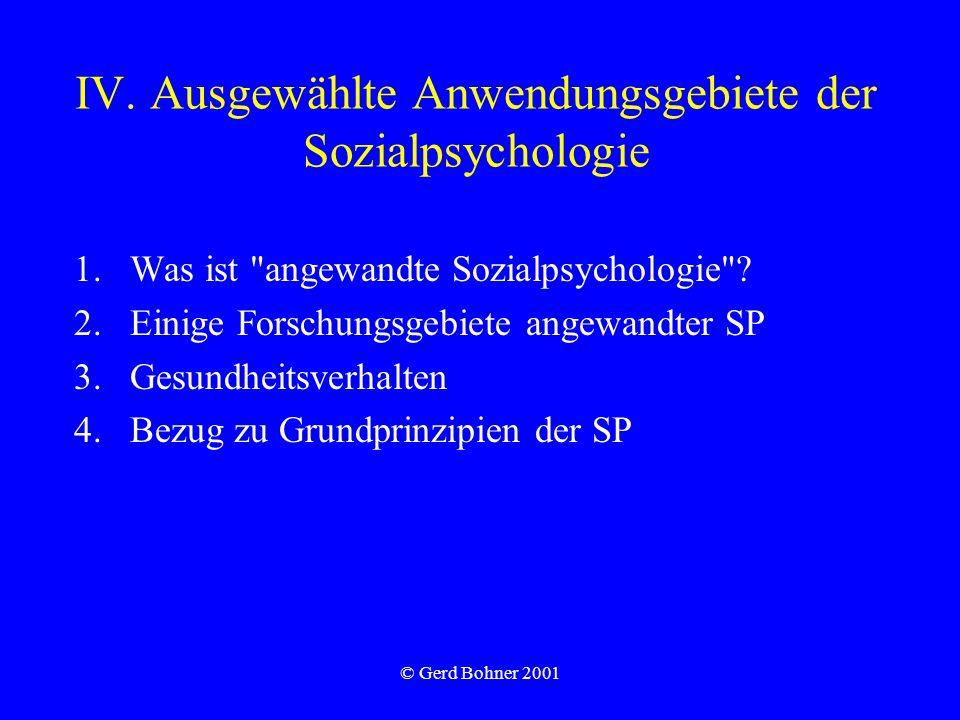 IV. Ausgewählte Anwendungsgebiete der Sozialpsychologie