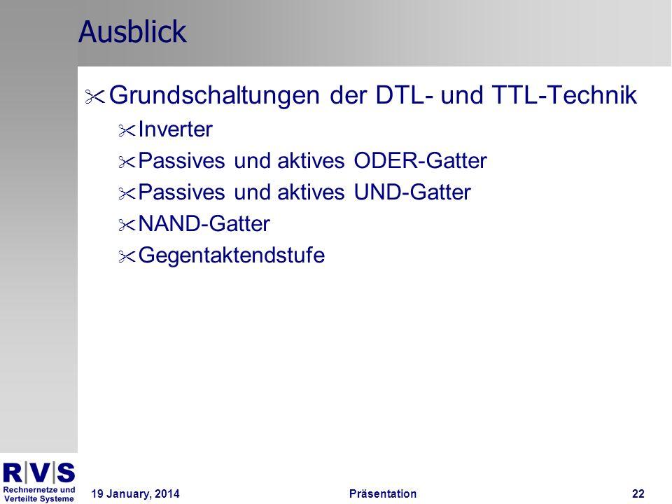 Ausblick Grundschaltungen der DTL- und TTL-Technik Inverter
