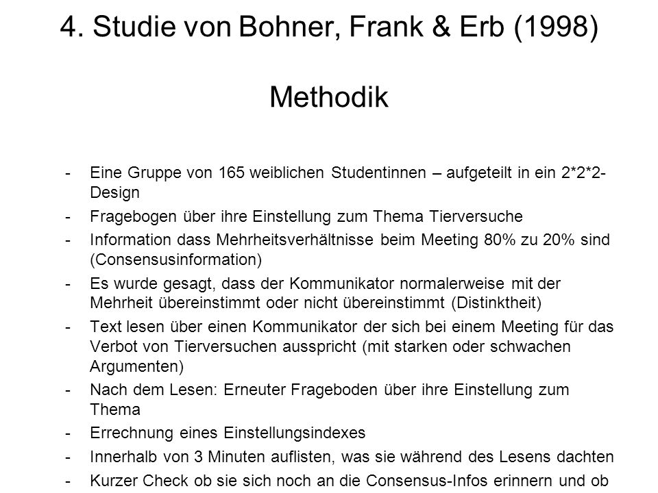4. Studie von Bohner, Frank & Erb (1998) Methodik