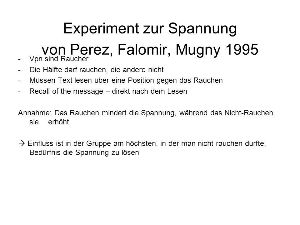 Experiment zur Spannung von Perez, Falomir, Mugny 1995