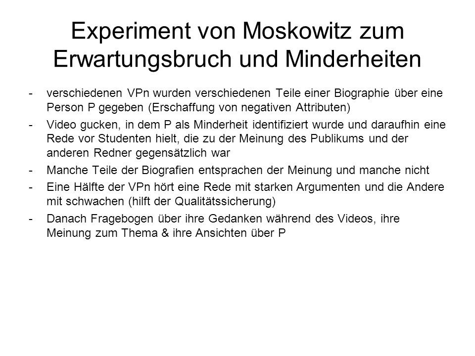 Experiment von Moskowitz zum Erwartungsbruch und Minderheiten