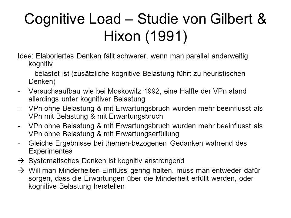 Cognitive Load – Studie von Gilbert & Hixon (1991)