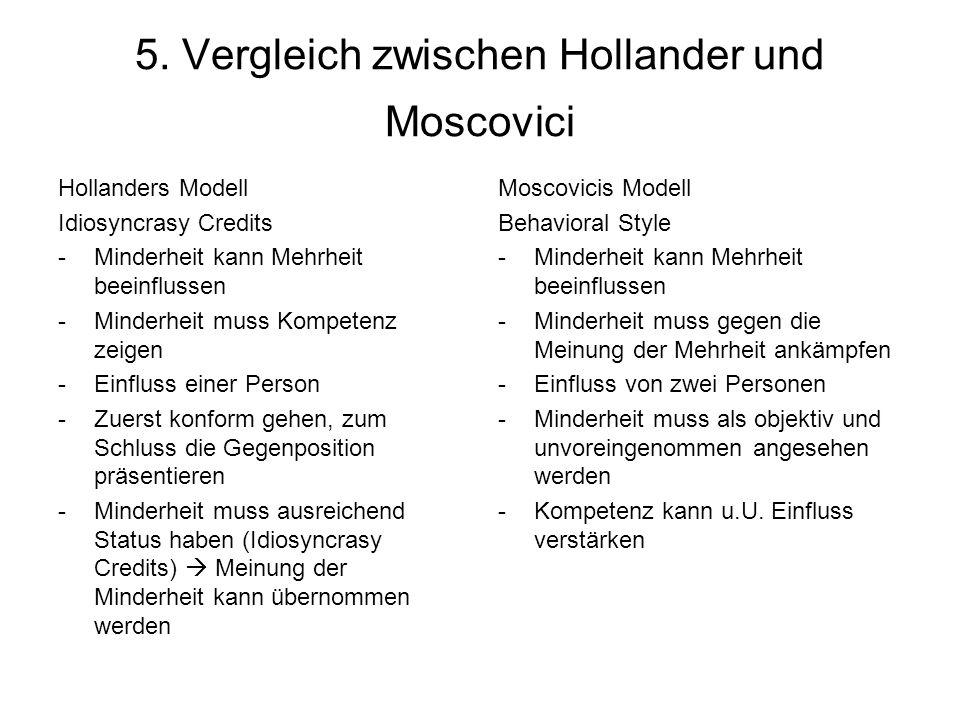 5. Vergleich zwischen Hollander und Moscovici