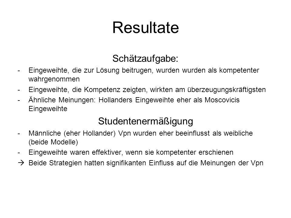 Resultate Schätzaufgabe: Studentenermäßigung