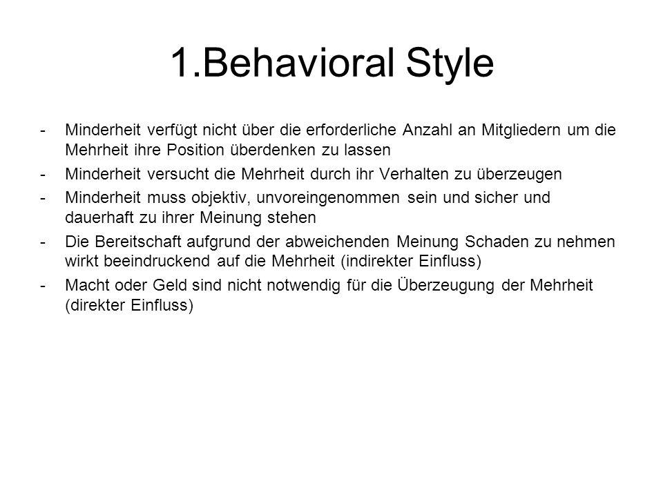1.Behavioral Style Minderheit verfügt nicht über die erforderliche Anzahl an Mitgliedern um die Mehrheit ihre Position überdenken zu lassen.