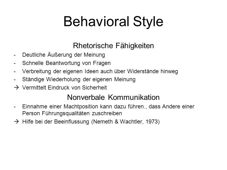 Behavioral Style Rhetorische Fähigkeiten Nonverbale Kommunikation