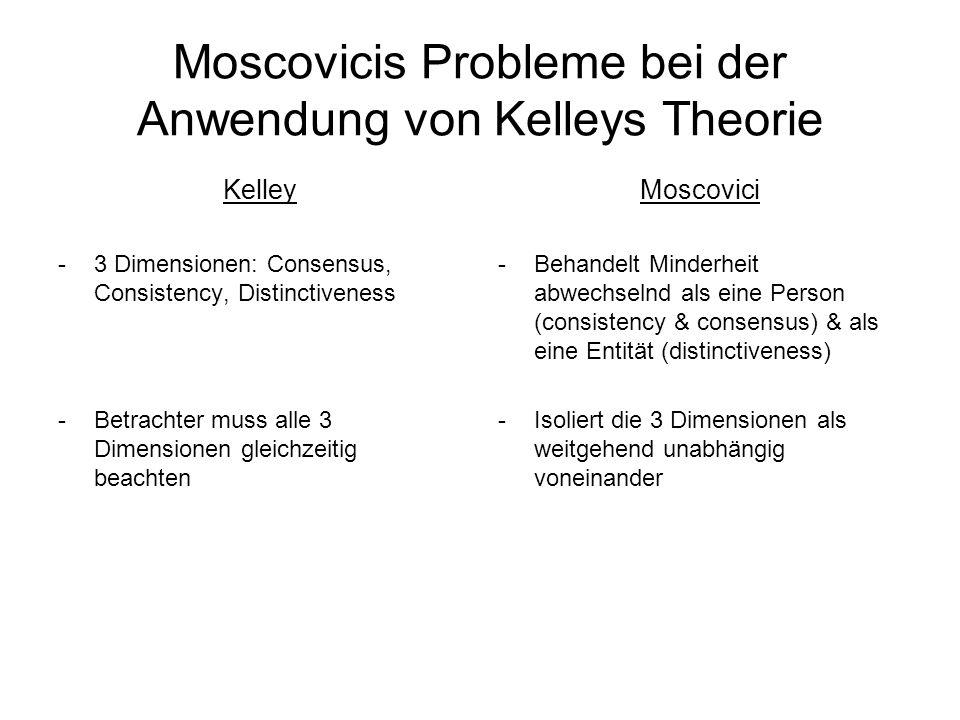 Moscovicis Probleme bei der Anwendung von Kelleys Theorie