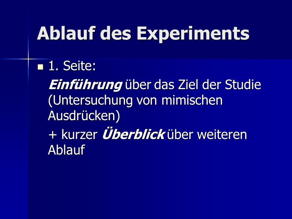 Ablauf des Experiments