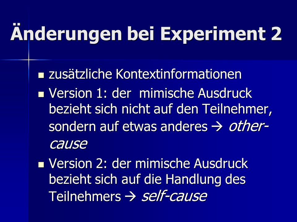 Änderungen bei Experiment 2