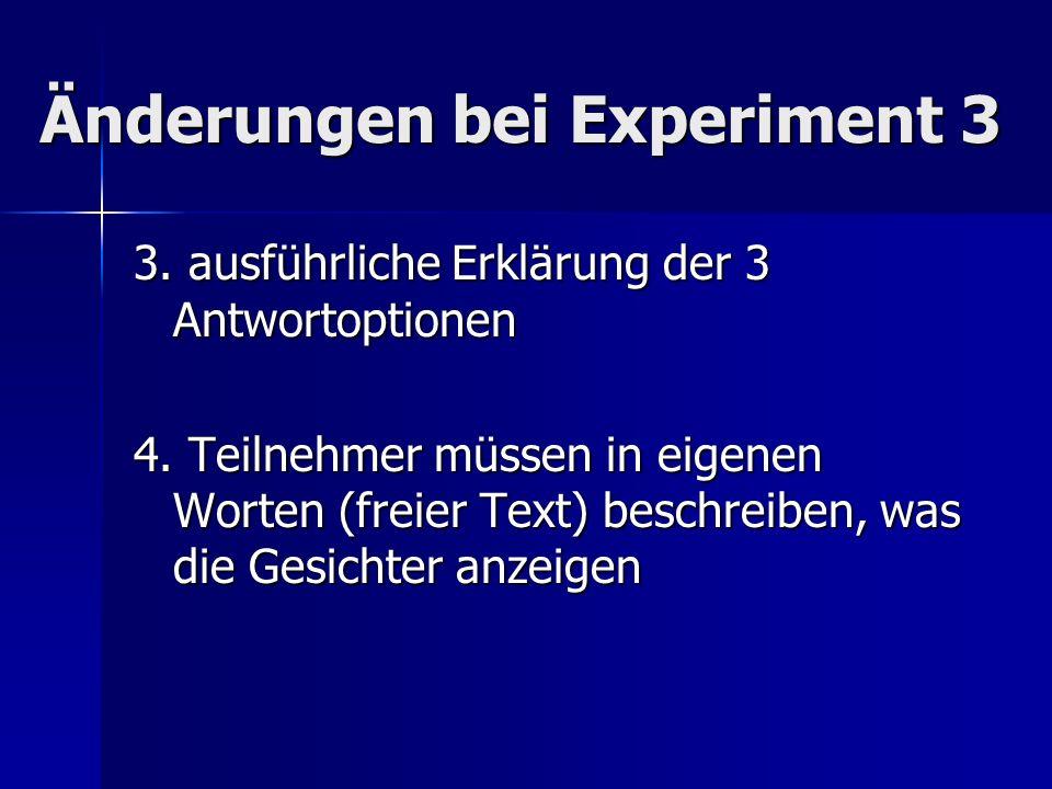 Änderungen bei Experiment 3