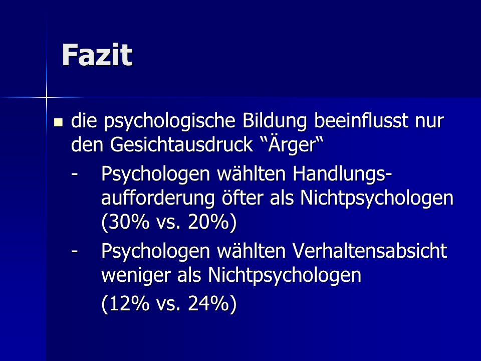 Fazit die psychologische Bildung beeinflusst nur den Gesichtausdruck Ärger