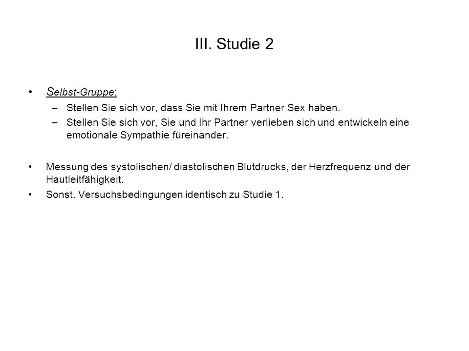 III. Studie 2 Selbst-Gruppe: