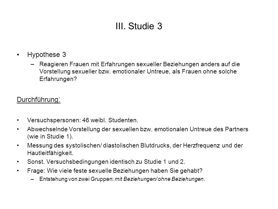 III. Studie 3 Hypothese 3 Durchführung: