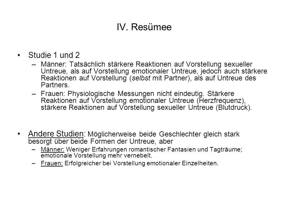 IV. Resümee Studie 1 und 2.
