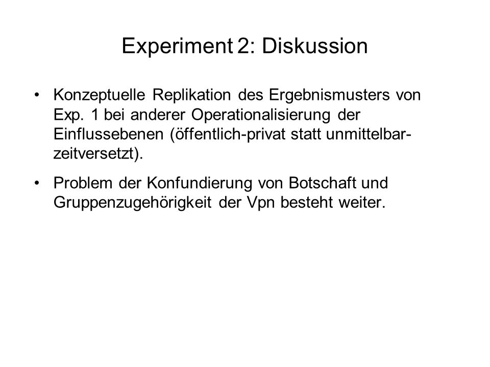 Experiment 2: Diskussion