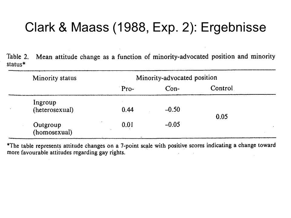 Clark & Maass (1988, Exp. 2): Ergebnisse