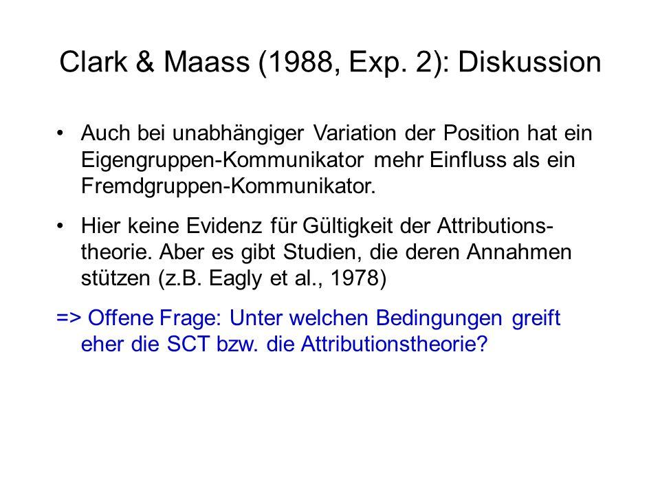 Clark & Maass (1988, Exp. 2): Diskussion