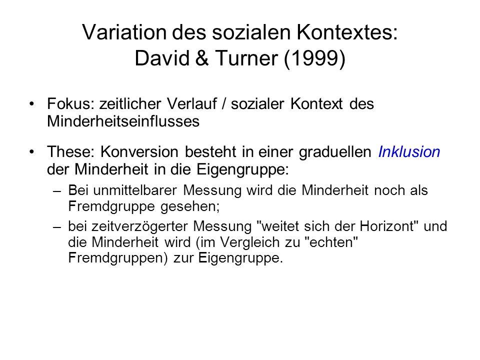 Variation des sozialen Kontextes: David & Turner (1999)