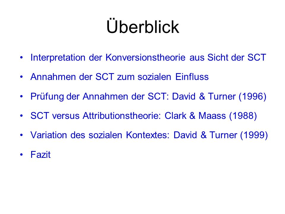 Überblick Interpretation der Konversionstheorie aus Sicht der SCT